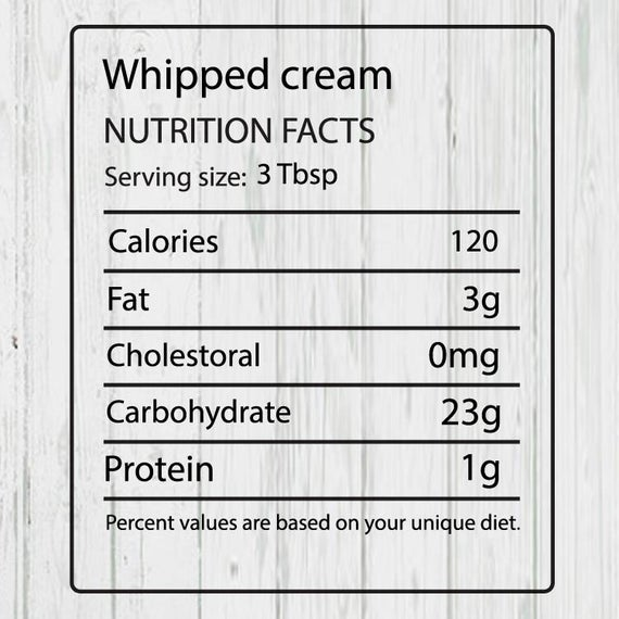 whipped cream nutritional values